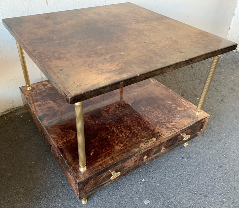 Set of 2 End or Coffee Tables by Aldo Tura In Good Condition For Sale In Munich, DE
