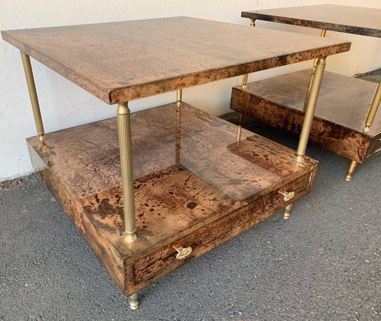 Late 20th Century Set of 2 End or Coffee Tables by Aldo Tura For Sale
