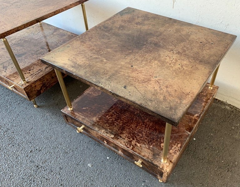 Set of 2 End or Coffee Tables by Aldo Tura For Sale 2