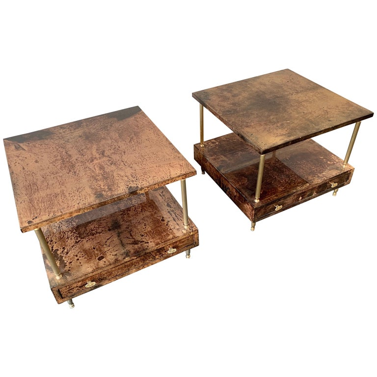 Set of 2 End or Coffee Tables by Aldo Tura For Sale