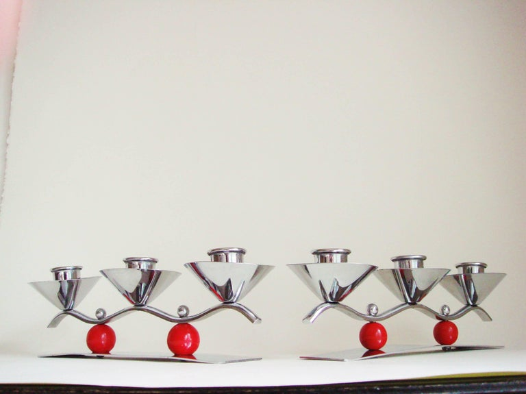 Mid-Century Modern Set of Two English Midcentury/Art Deco Chrome and Red Triple Candleholders For Sale