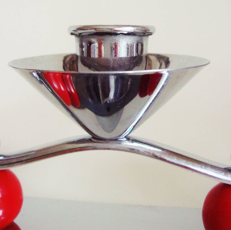 Set of Two English Midcentury/Art Deco Chrome and Red Triple Candleholders In Good Condition For Sale In Port Hope, ON