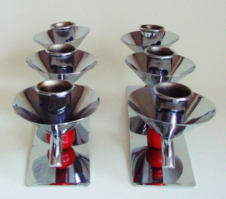 Set of Two English Midcentury/Art Deco Chrome and Red Triple Candleholders For Sale 1