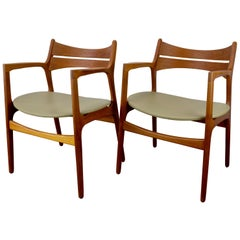 Set of 2 Erik Buch Teak Armchairs