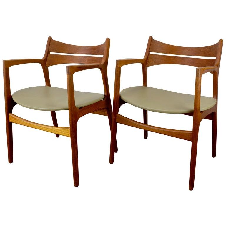 Set of 2 Erik Buch Teak Armchairs For Sale