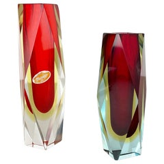Set of 2 Faceted Murano Glass Sommerso Vase Designed by Flavio Poli Italy, 1970s