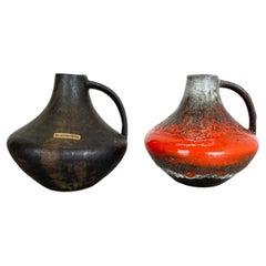 Set of 2 Fat Lava Pottery Vases Heinz Siery Carstens Tönnieshof, Germany, 1970s
