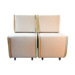 Set of 2 Felt Designer Chairs on Wheels by Merkx+Girod, the Netherlands, 2003