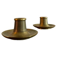Set of 2 Finnish 1920's Brass Candle Holders