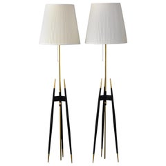Set of 2 Floor Lamps by Svend Aage Holm Sørensen 1950s Made in Denmark