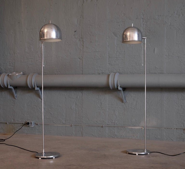 Scandinavian Modern Pair of Floor Lamps Model G-075 by Bergboms, Sweden, 1960s For Sale