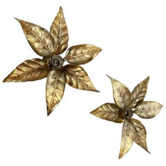 Set of 2 Floral Brutalist Brass Metal Wall Ceiling Light by Willy Daro, Belgium