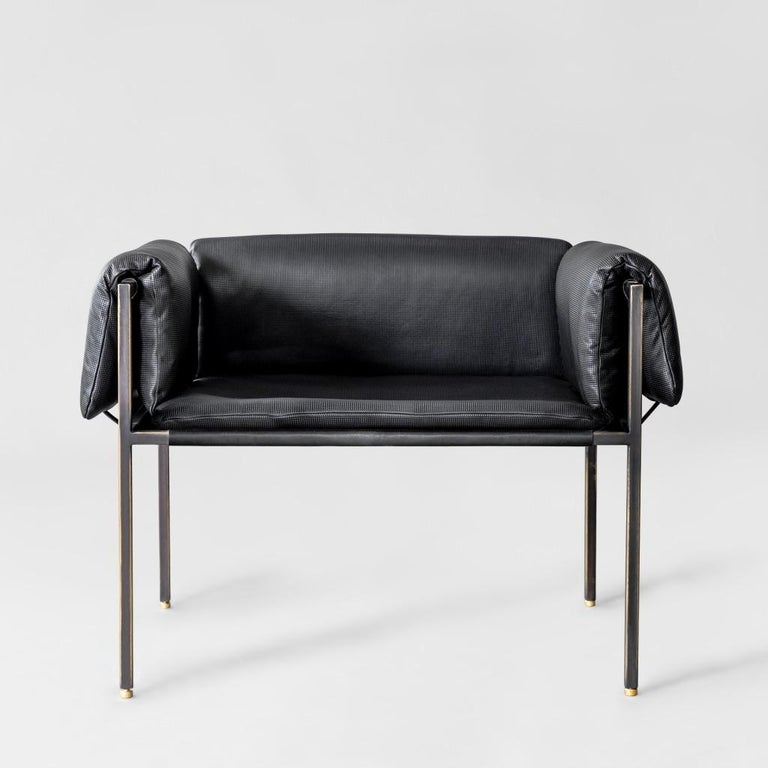 Mexican Set of 2 Flow Blackened Steel and Leather Armchair by ATRA For Sale