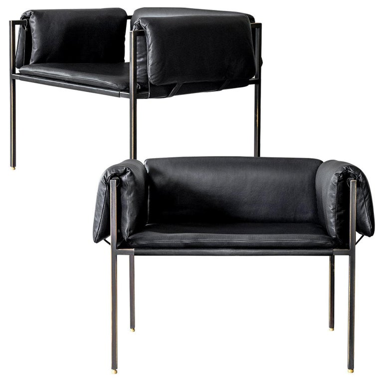 Set of 2 Flow Blackened Steel and Leather Armchair by ATRA For Sale