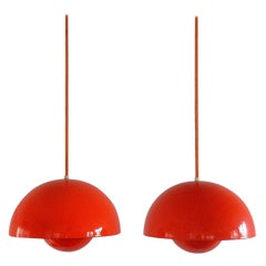Set of 2 Flowerpot Pendants by Verner Panton for Louis Poulsen, Denmark, 1968