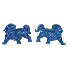 Set of 2 Foo Dogs Handcrafted Porcelain Hand Painted Blue