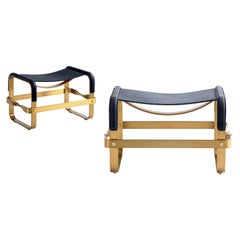 Set of 2 Footstool Aged Brass Steel & Navy Blue Leather Contemporary Style