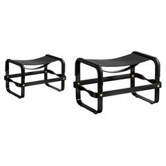 Set of 2 Footstool Black Smoke Steel & Black Leather, Modern Style, Wanderlust