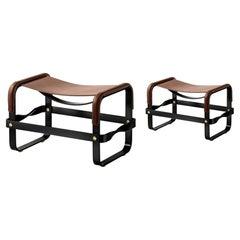 Set of 2 Footstool Black Smoke Steel &Dark Brown Leather Modern Style Wanderlust