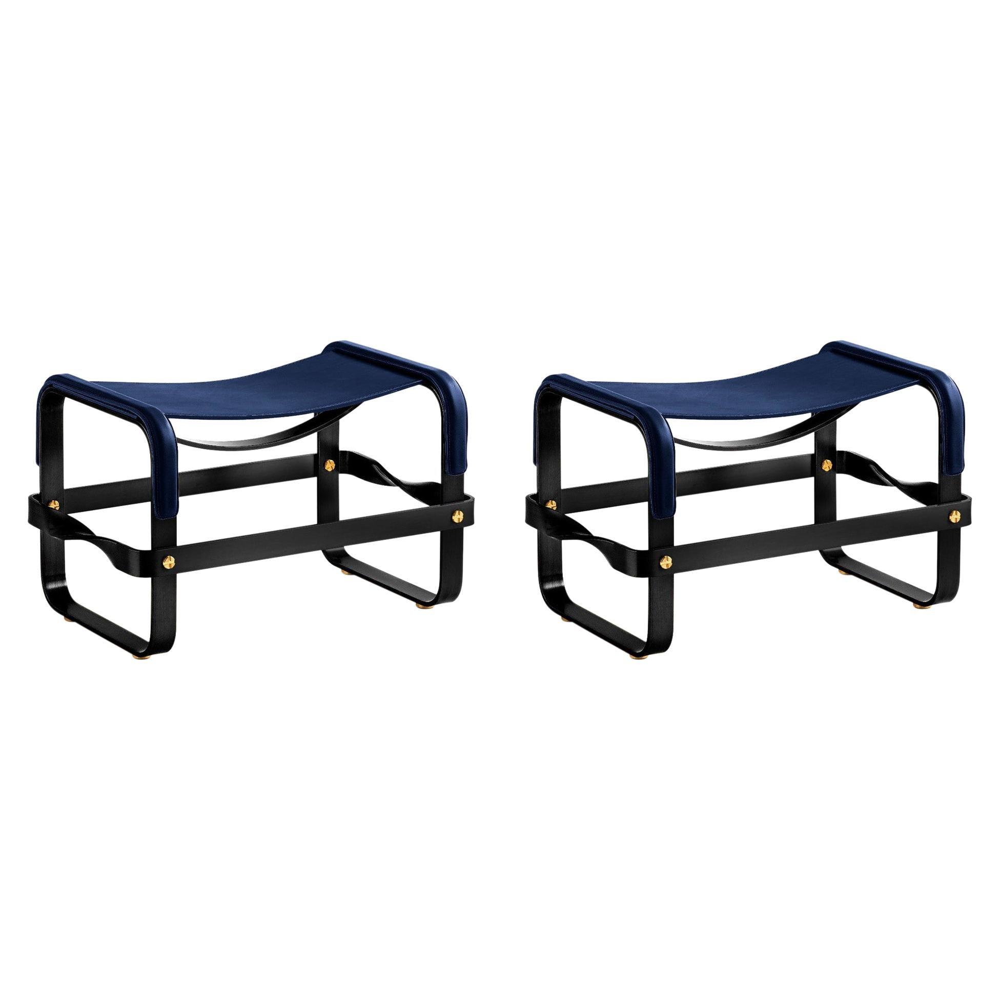 Set of 2 Footstool Black Smoke Steel & Navy Blue Leather, Modern Style