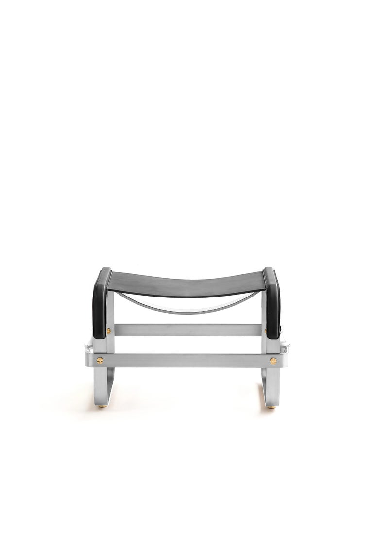 Spanish Set of 2 Footstool Old Silver Steel & Black Leather, Contemporary Style For Sale