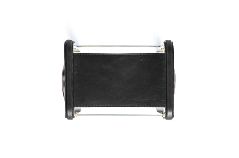 Vegetable Dyed Set of 2 Footstool Old Silver Steel & Black Leather, Contemporary Style For Sale