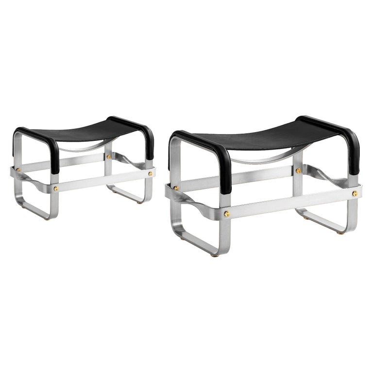 Set of 2 Footstool Old Silver Steel & Black Leather, Contemporary Style For Sale
