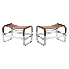 Set of 2 Footstool Old Silver Steel & Dark Brown Leather Contemporary Style
