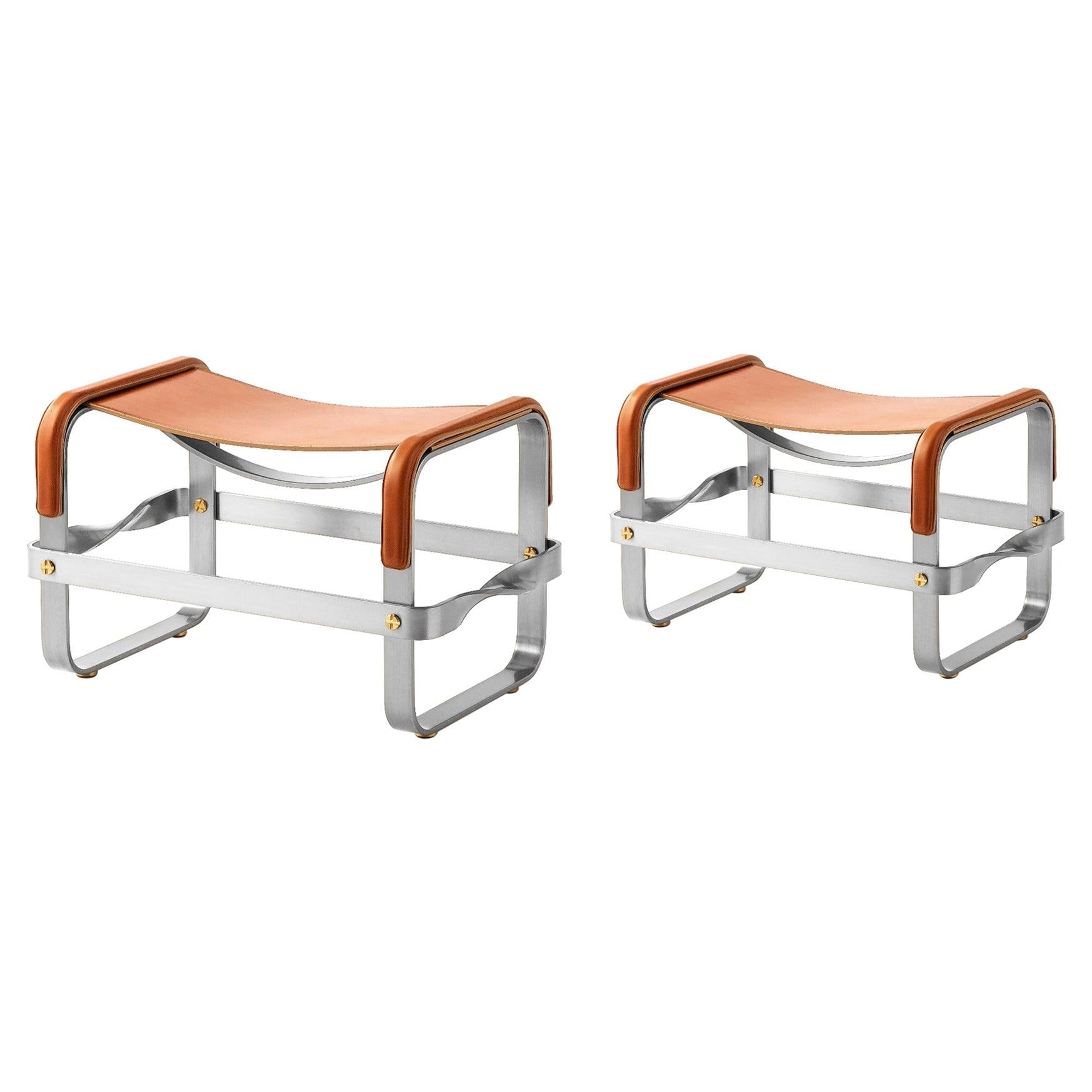 Set of 2 Footstool Old Silver Steel & Natural Tobacco Leather Contemporary Style