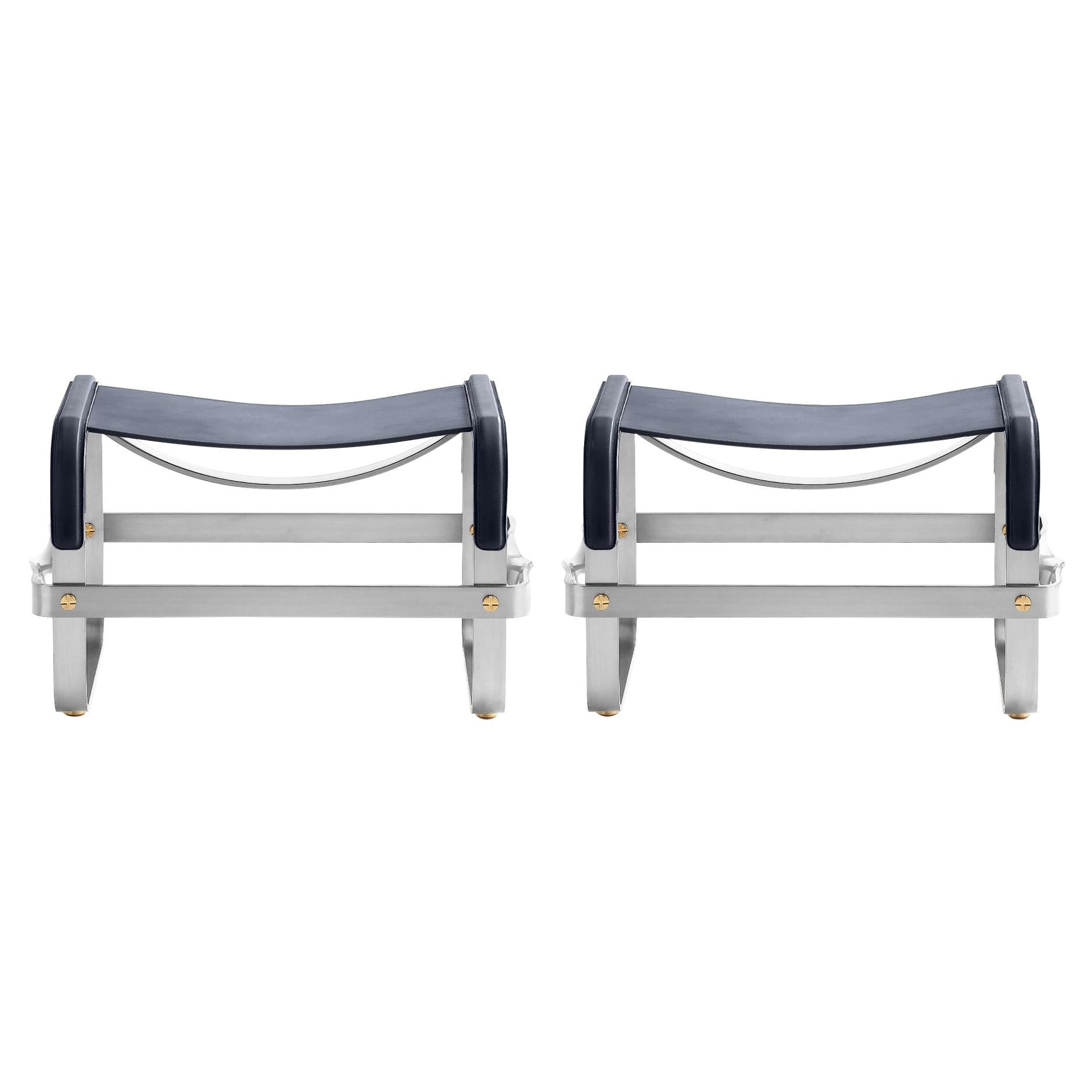 Set of 2 Footstool Old Silver Steel & Navy Blue Leather Contemporary Style