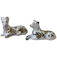 Set of 2 French Faience Dog and Ram Knife Rests Desvres, circa 1890