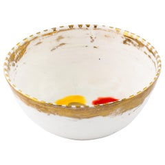 Set of 2 Fruit Bowls Gold Hand Painted Coralla Maiuri Modern New Tableware