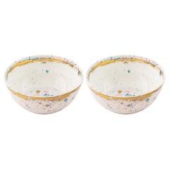 Set of 2 Fruit Bowls Gold Hand Painted Coralla Maiuri Modern New