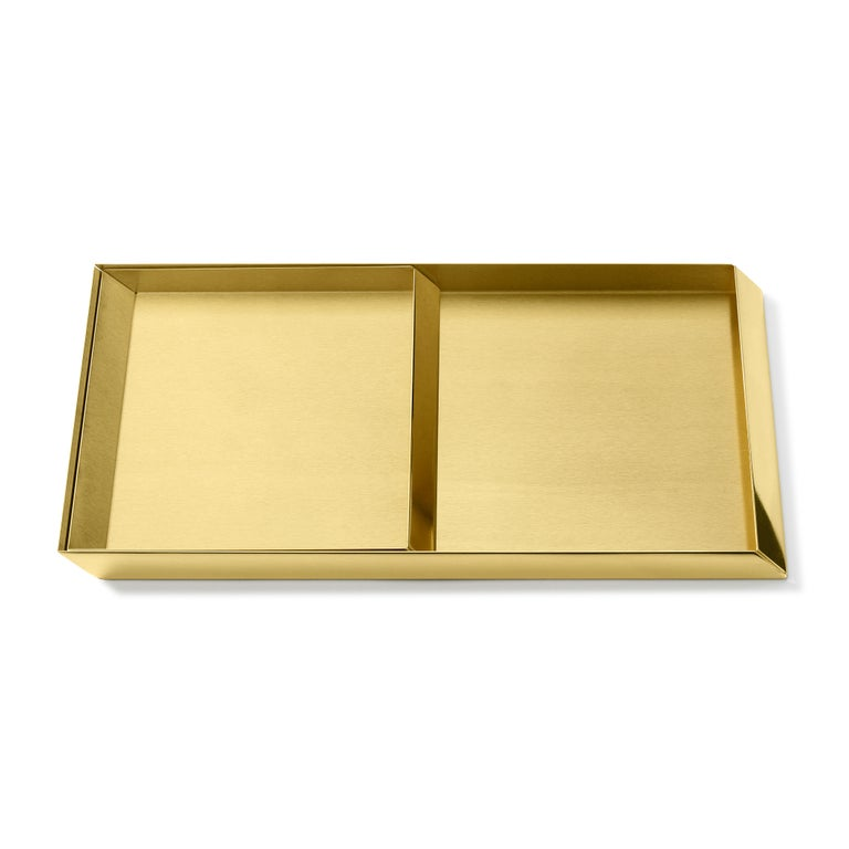 Modern 'Set of 2' Ghidini 1961 Axonometry Trays in Brass by Elisa Giovanni For Sale
