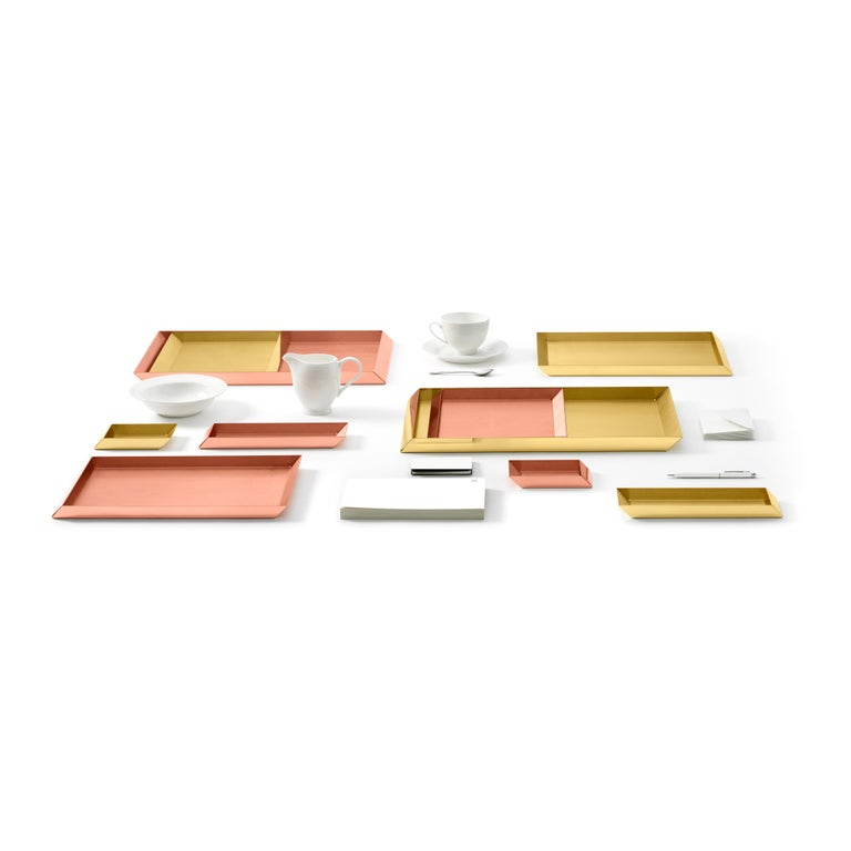 Italian 'Set of 2' Ghidini 1961 Axonometry Trays in Brass by Elisa Giovanni For Sale