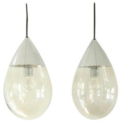 Set of 2 Glass Drop Pendant Lamps for Limburg, Germany, 1970s
