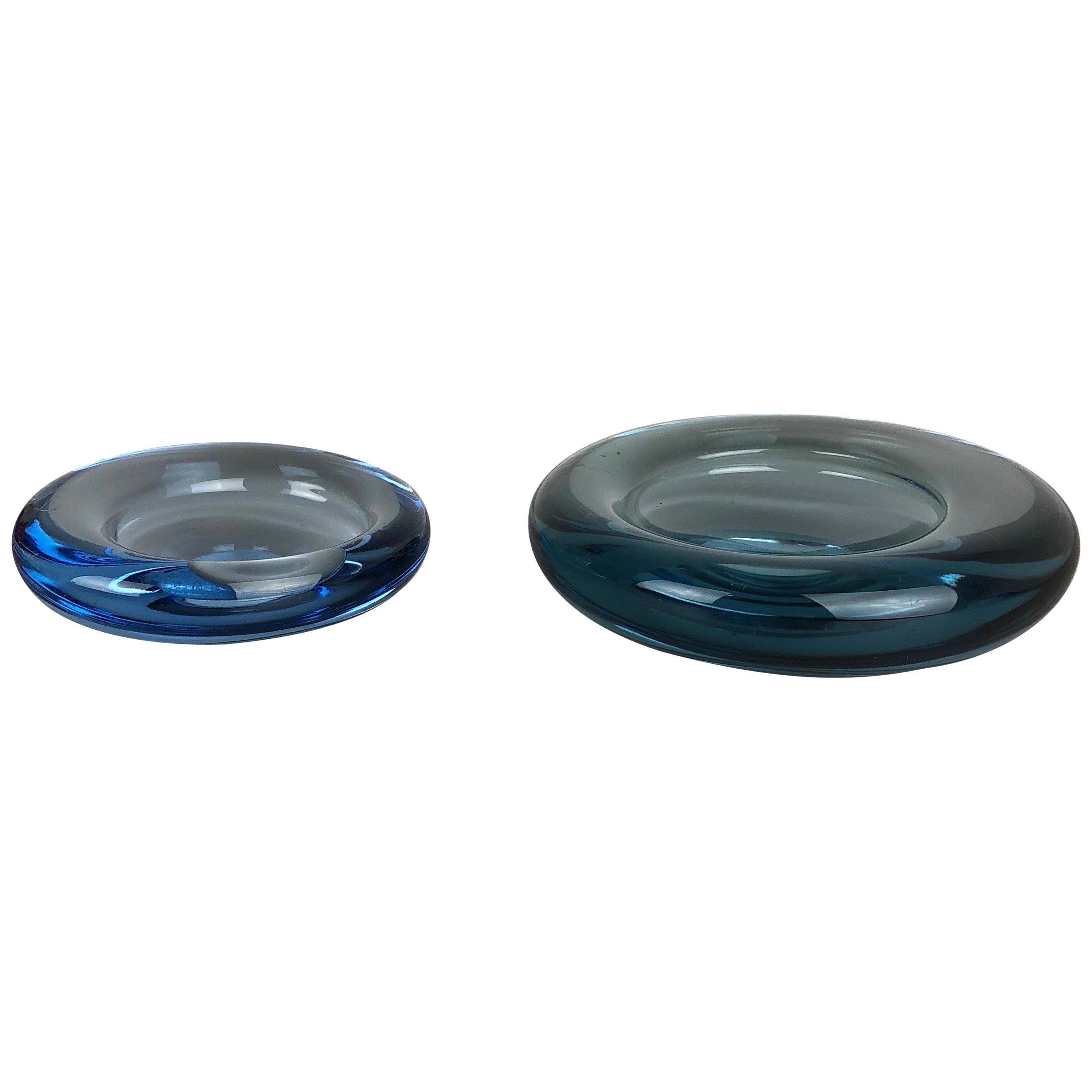 Set of 2 Glass Shell Bowl Elements by Per Lutken for Holmegaard, Denmark, 1960s