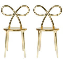 In Stock in Los Angeles, Set of 2 Gold Metallic Ribbon Chairs by Nika Zupanc