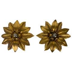 Set of 2 Golden Florentine Flower Shape Flushmounts by Banci, Italy, 1970s