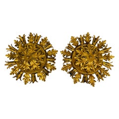 Set of 2 Golden Florentine Flower Shape Flushmounts by Banci, Italy, 1970s