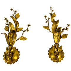 Set of 2 Golden Florentine Flower Shape Wall Lamps by Banci, Italy, 1970s