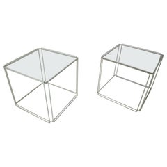 Set of 2 Graphical Isosceles Side Tables by Max Sauze Isoceles for Atrow, 1970s