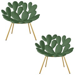 Set of 2 Green and Brass Outdoor Cactus Chairs, Designed by Marcantonio