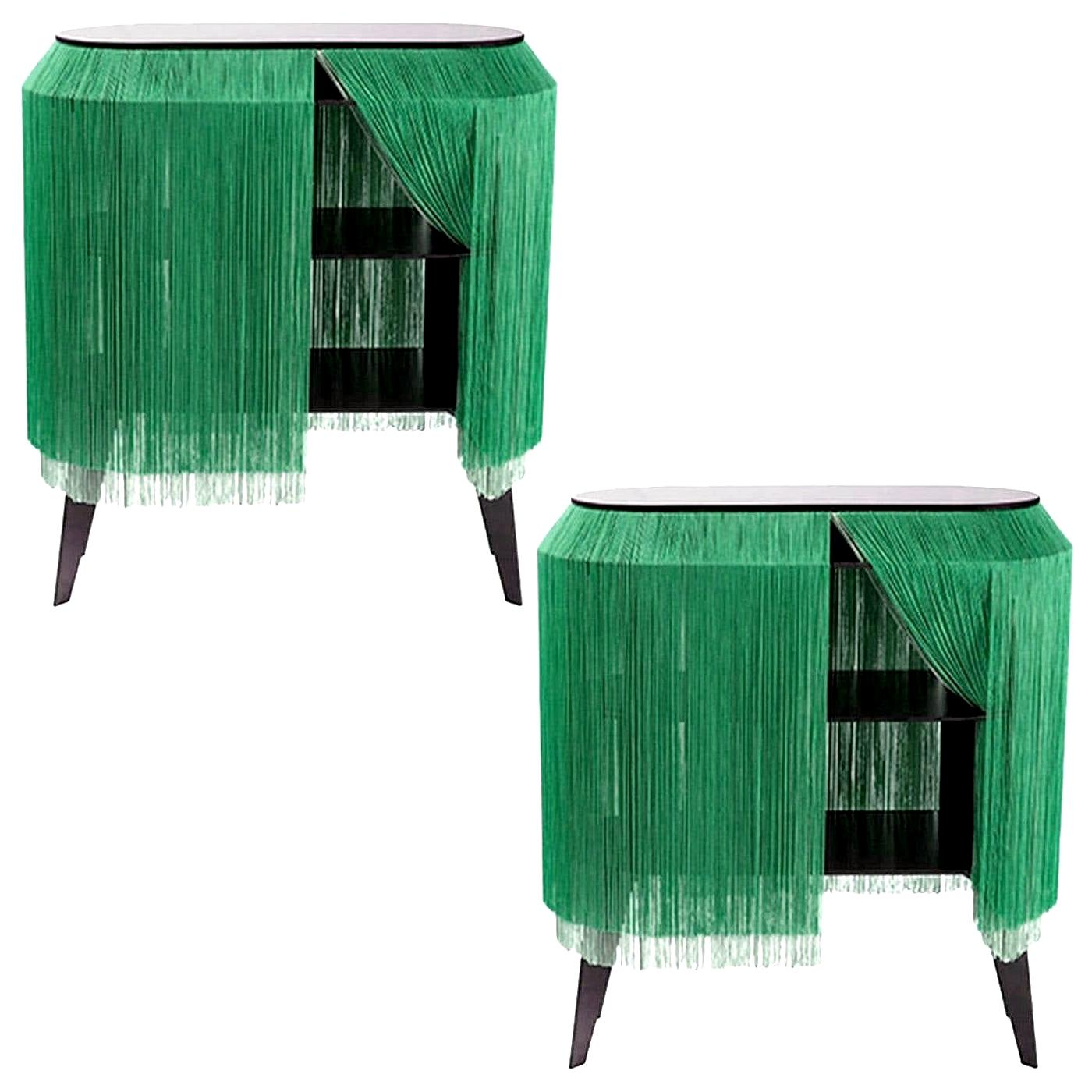 Set of 2 Green Fringe Side Tables or Nightstand, Made in France