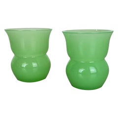 Set of 2 Green New Old Stock Murano Opaline Glass Vases by Gino Cenedese, 1960s