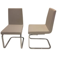 Set of 2 Grey Beige Leather Dining Chairs Polished Chrome Cantilever Base