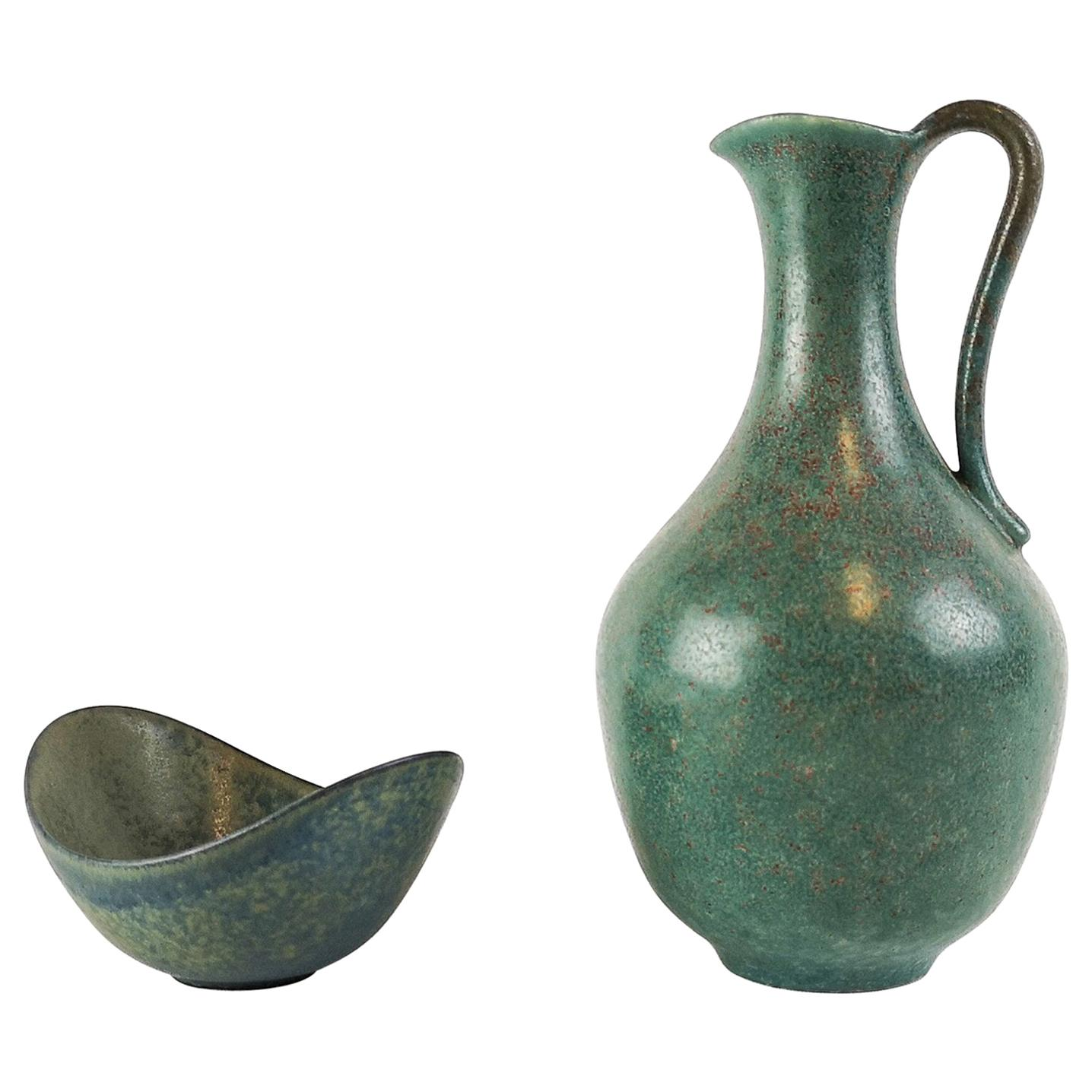Set of 2 Gunnar Nylund Ceramic Pieces Midcentury Sweden Rörstrand