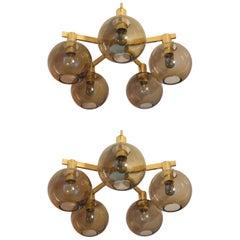 Set of 2 Hans-Agne Jakobsson Brass Ceiling Light, 1960s
