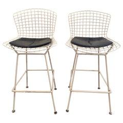Set of 2 Harry Bertoia white Barstool for Knoll International