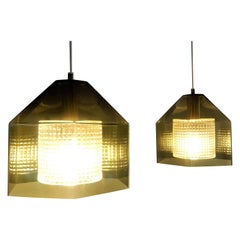 Set of 2 Hexagon Pendant Lamps by Carl Fagerlund for Orrefors, Sweden, 1960s